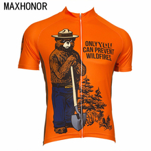 Cycling jersey men short sleeve bicycle clothing america bear orange ciclismo customed maxhonor cycling top summer cool(China)