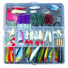 Hot sale!! 134pcs/Box fishing lure Kit Pesca Crankbait Plastic Hard Bait Metal Spoon Lures Soft Baits Worms Fishing accessories