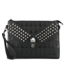 Skull Rivet Fashion Casual Men Women Clutch Bag Street Hip Hop Punk Handbag Party Shoulder Bag Messenger Bag(China)