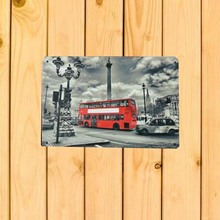 Red Double-decker Bus Hot Vintage Metal Signs Home Decor 20x30cm Tin Signs picture Pub Vintage Decorative Plates Wall poster(China)