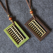 Cotton and Linen Ethnic Style Square Wooden Contracted Wind Restoring Ancient Ways Big Abacus Pendant Necklace Sweater Chain