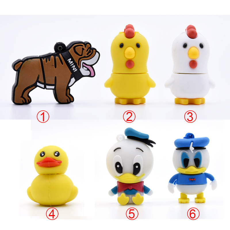 cartoon bulldog pen drive chicken USB flash drive 16GB Donald Duck pendrive 8GB 4G flash card 32GB 64G flash memory stick U disk(China (Mainland))