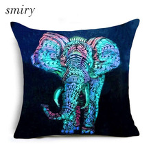 Animal series Elephant lion dog horse Polyester Cushion Cover Invisible Zipper Pillow case Home Decorative Square Pillow Cover