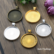 20mm 25mm 30mm 6pcs Antique Silver Bronze Gold Black Color Plated Cabochon Settings Round Cameo Base Blank Tray Pendant Charms