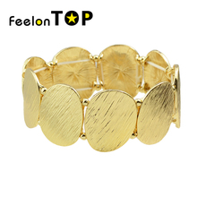 New Gold-Color Bracelets Steampunk Elastic Square Geometric Brushed Bracelets and Statement Bangles for Women