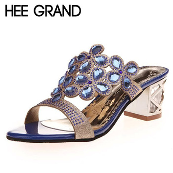 HEE GRAND 2017 Bling Platform Sandals Crystal Summer High Heels Casual Flip Flops Slip On Shoes Woman Fashion Slippers XWZ3481