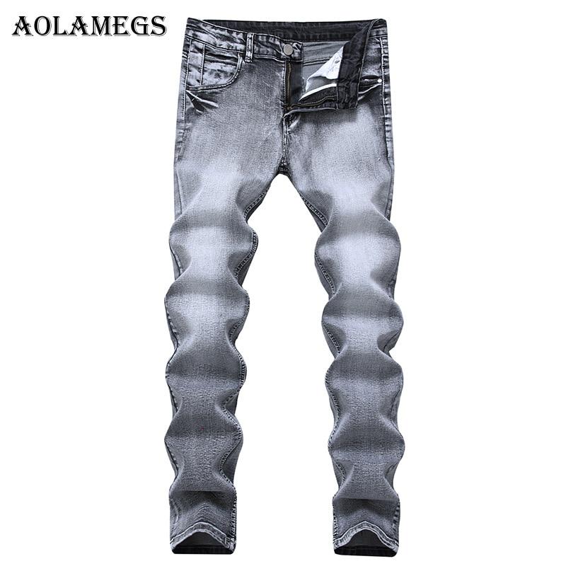 Aolamegs Men Jeans Pants Light Gray Pleated Stretch Slim Nostalgia Motorcycle Full Length Trouser Summer Splice Denim Fashion MiÎäåæäà è àêñåññóàðû<br><br>