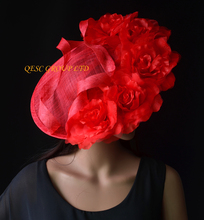 NEW Red Large sinamay hat saucer fascinator Silk flower fascinator  for races,wedding,church,party.