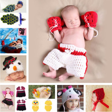 Crochet Baby Boy Boxer photography props Handmade knitted Kids Clothes set Infant Boxing gloves & shorts Outfits 1set MZS-15029(China)