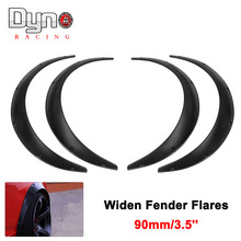 4Pcs Universal 90mm/3.5in Car Widen Fender Flares Arch Wheel Eyebrow Protector/mudguards Sticker Black OT197-3x2(China)