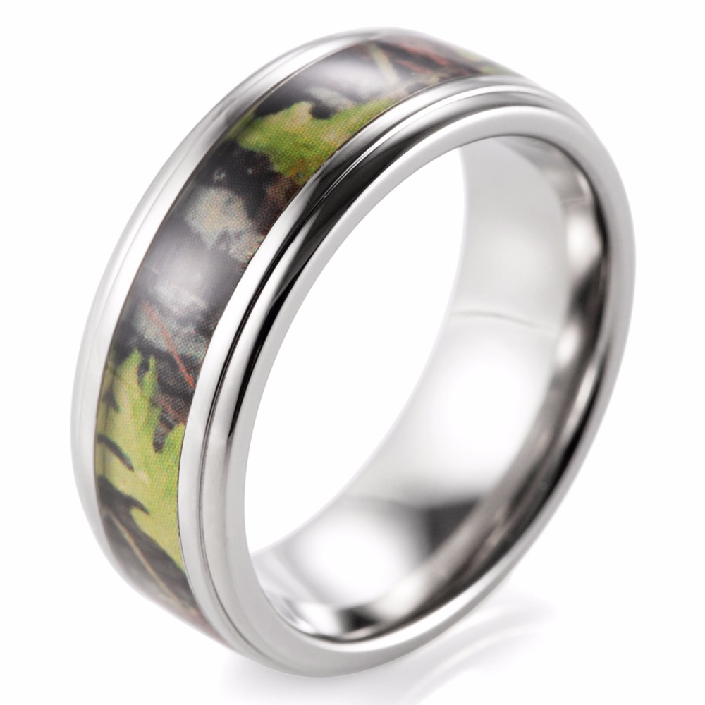 SHARDON Mens Camo Wedding Ring Titanium Edges Green Mossy Oak Band Outdoor For