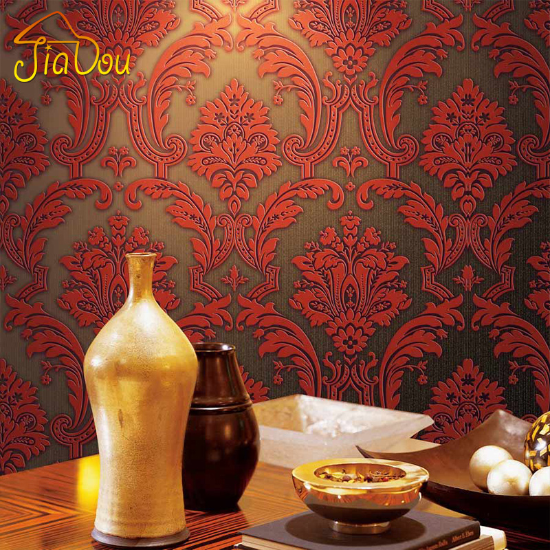 Luxury Damask Wallpaper Roll European 3D Non-woven Embossed Flocking Wall Papers Home Decor Paper For Living Room Bedroom Wall<br><br>Aliexpress