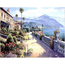 Pictures Oil Painting By Numbers DIY Digital Paint on Canvas Hand Painted Landscape Mediterranean Sea Pattern Home Decor r257