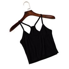 WANAYOU Sexy Women's Strap Tanks Crop Tops,7 Colors Sleeveless Short Y Camisole Halter Top,Summer Style White/Black Camis Vest