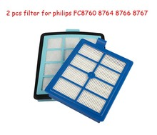 1pc Intake vents HEPA Filter+1 pc Exhaust vents filter for philips FC8766 FC8767 FC8760 FC8764 vacuum cleaner parts Replacement(China)