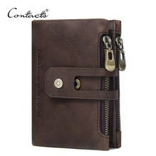 CONTACT'S Genuine Leather Men Wallet Small Men Walet Zipper&Hasp Male Portomonee Short Coin Purse Brand Perse Carteira For Rfid(China)