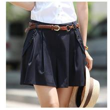 2017 Summer Europe And The United States Black Shorts Woman High Waist Wide Leg Skirt Shorts Mini Short Sexy(China)
