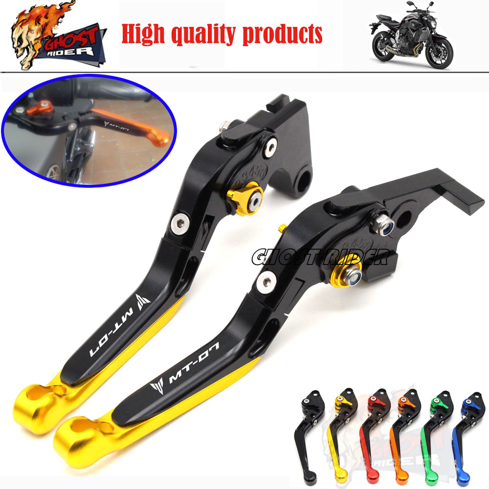 For YAMAHA MT-07 MT 07 2014-2015 Motorcycle Accessories Adjustable Folding Extendable Brake Clutch Levers LOGO MT-07 Golden<br><br>Aliexpress