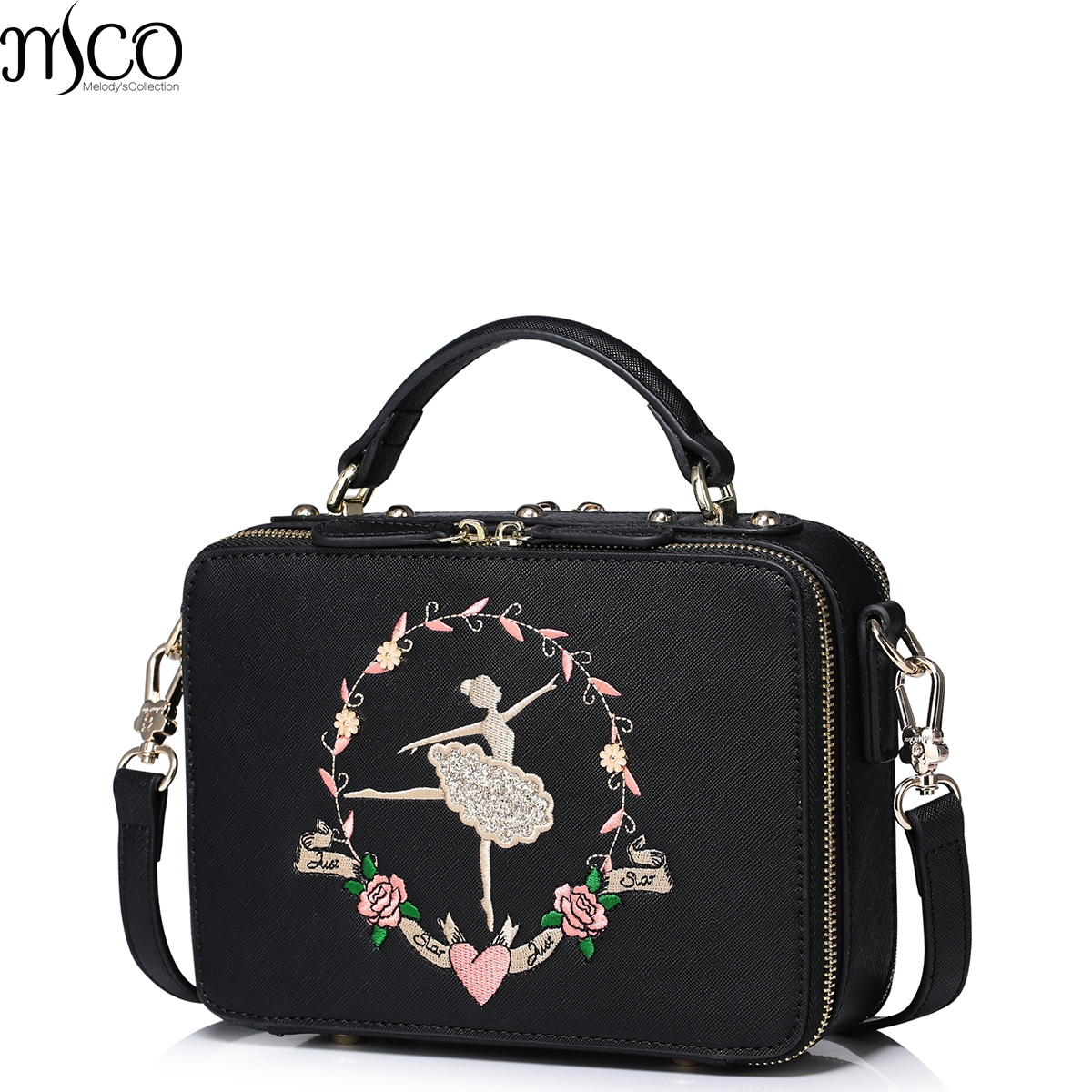 2017 Summer Luxury Flower Ballet Girl Embroidery Tote Handbags For Women PU Leather Shoulder Bag Double Zipper Messenger Bags<br>