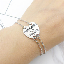 L228 Men Pulseiras Lover Best Friends PARTNERS IN CRIME Heart Charm Chain Link Bracelets for Women Jewelry Girl Mujer Bracciali