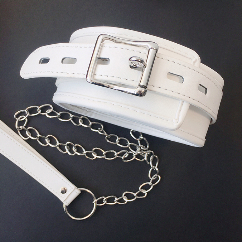 White SM PU Leather Retro Adjustable Handcuffs Restraints Ankle Cuff Restraints BDSM Bondage Slave Adult Sex Toys for couple 4