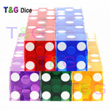 5piece T&G dice 19mm high-grade Acrylic transparent dice six sided casino sharp straight corners(China)