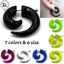 1 Pair Acrylic Fake Cheater Spiral Ear Taper Stretcher Expanders Gauge Earlobe Earring Piercing Body Jewelry Tunnel And Plugs(China)