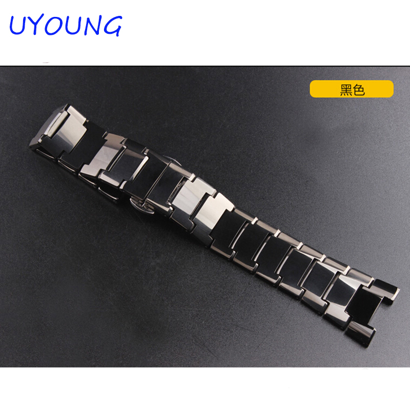 UYOUNG Watchband For RD6020 Tungsten steel Bracelet Men Ladies Watch accessories Black Strap 22*11mm Strap Bracelet<br>