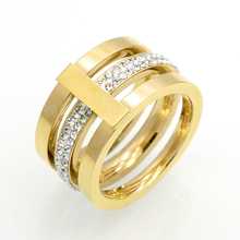 Wholesale 2016 Three Layers Zircon Stainless Steel Titanium Ring For Men Women CZ Crystal ring Band Jewelry Custom Accessories(China)