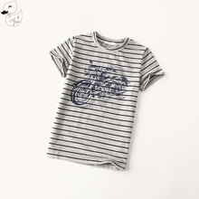 BINIDUCKLING 2017 Summer Baby Tops Boys Clothes Short Sleeve O-neck T shirt Boys Cotton Motorcycle Printed Tees Striped T Shirt