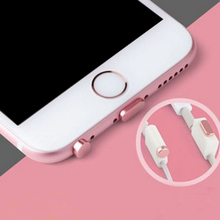 Metal Alloy Earphone Jack Anti Dust Plug Data port dust plug for iPhone 7 Pluggy 6 6S Plus 5 5S SE cell Phone Headphone Plug(China)