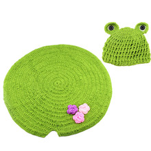 1 set handmade knitted infant Photography Props crochet frog hat newborn baby girl Costume baby boy cloth accessories