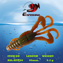 "6pcs 9cm/6.2g Esfishing Huge Tentacles Craw 3.5"" Fishing Lure Soft Plastics Baits Pesca Stream Sea Lake Iscas Tackle Peche"