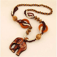 New Women Necklace Bohemian National Retro Wooden Elephant Necklace with Sweater Chain Women accesssories 8190