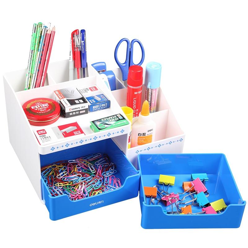 1 Set Plastic Stationery Holders 3 Layers Desk Accessories &amp; Organizer 3 Colors 266x190x142mm Deli 8900<br>