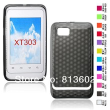 Free shipping DHL ,  for Motorola XT303 Latest Diamond Style Soft Gel TPU Resin Skin Back Cover Case,500pcs/lot