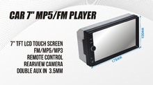 12pcs Double din 2din universal 7color Deckless CAR MP5 PLAYER MEDIA FM BLUETOOTH SD USB CCD 1080p short body case 60cm Depth