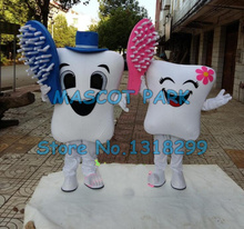 a pair of healthy tooth mascot costume adult size cartoon girl/boy teeth mascotte dentist advertising fancy dress(China)