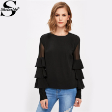 Sheinside Black Ruffle Long Sleeve Women Shirts Mesh Insert Tiered Bell Sleeve Office Ladies Tops 2017 Elegant Blouse(China)