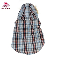 2017 Cool British Grids Pattern Cotton Padded Warm Vest with Hoodie for Pets Dogs Winter Dog Clothes(China)
