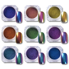 0.5g Top-Grade Chameleon Nail Glitter Powder Nail Dust Manicure Nail Art Chrome Pigment Black Base Color Need