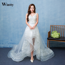 Wintty Vestidos De Noiva Short Front Long Back Wedding Dresses Elegant Beaded High Low V Neck Lace Bridal Gowns with Long Train