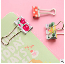 6 pcs/ pack Fresh Style Flower Printed Metal Binder Clips Notes Letter Paper Clip Office Supplies FOD(China)
