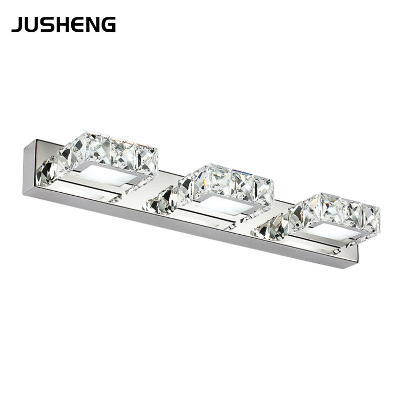 Elegant LED wall light 9W Square Crystal Sconce Lighting 46cm long in Bathroom Mirror AC100-240V With CE RoHS