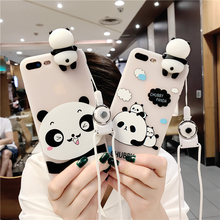 3D Panda Cute Phone Case For iPhone 6 6S 7 7 Plus Cover Strap Transparent TPU Silicone Cover For iPhone 6 6S 7 Phone Accessories(China)