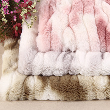 Luxury Artificial Rabbit Fur Fabric PV Fur Printed Blanket Cushion Toy Coat Long Pile Strips Material
