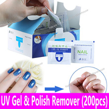 200pcs UV Gel Polish Remover Wraps Discharge Pads Lacquer Impregnated Acetone Soak Off Acrylic Cleanser Wraps Easy Tear Bag Tool(China)