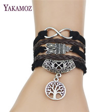 2017 Multi-Strands Infinity Silver Color Clover Charm Leather Braid Bracelet Bangle Jewelry For Women and Men(China)