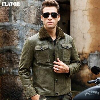 Hommes de veste en cuir véritable peau de porc vert vestes Véritable veste En Cuir col de fourrure hommes chaud manteau bombardier en cuir veste