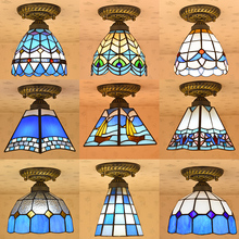Tiffany Mediterranean European style stained glass ceiling light for entrance hallway lamp(China)